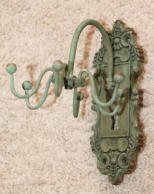 Cast Iron decorative jewelry organizer hanger holder green antique finish spin