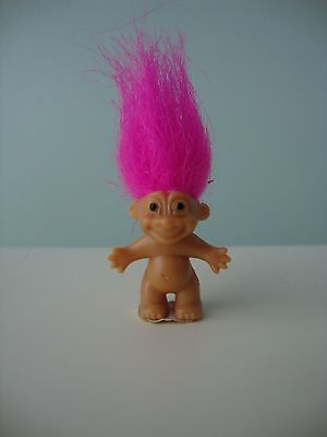 "NEW 1"" Mini RUSS Troll Lucky Bingo Troll Doll Pink Hair Russ Sticker on Feet"