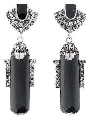 Vintage Deco Sterling-Silver Marcasite Black Onyx Large Earrings - Rare