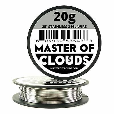SS 316L - 25 ft. 20 Gauge AWG Stainless Steel Resistance Wire 0.81 mm 20g 25'