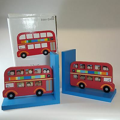 New Sass & Belle Big Red London Bus Wooden Frame Bookends