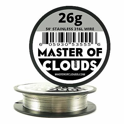 SS 316L - 50 ft. 26 Gauge AWG Stainless Steel Resistance Wire 0.40 mm 26g 50'