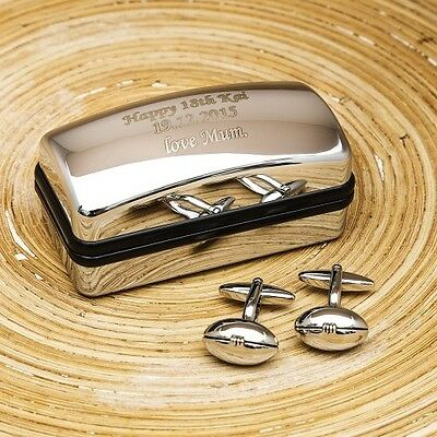 Classic Rugby Ball Personalised Cufflinks Gift Set