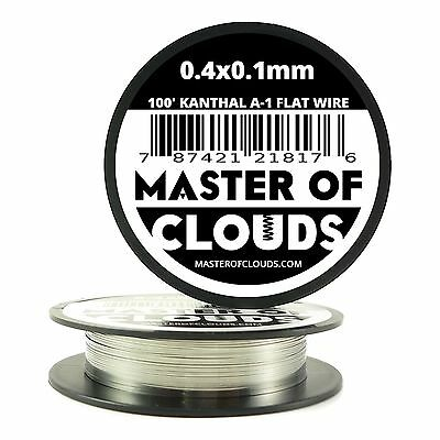 100 ft - 0.4 X 0.1 mm Flat Ribbon Kanthal A-1 Resistance Wire Spool A1 100' Roll