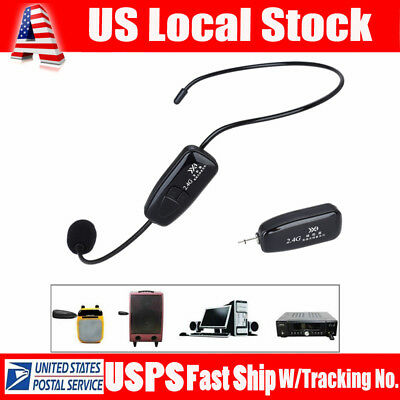 USA 2.4G Wireless Clear Microphone Headset 3.5mm Plug Receiver FM Auto Connect