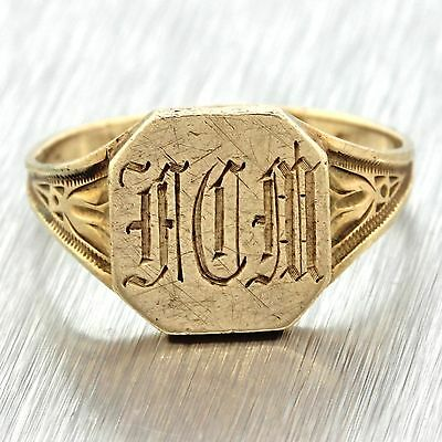 1880s Antique Victorian Estate 10k Solid Yellow Gold Engraved Signet Ring