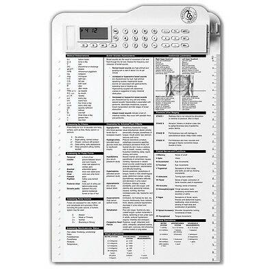 Nurse Assist Clipboard Quick Reference Tool Clock Timer Calculator EKG White
