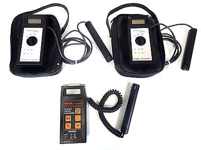 Lot of 3 Thermo Hygrometer Hanna Instruments HI 8564 8064 w/ Probe Thermometer