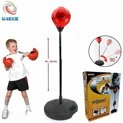 Kids Childrens Junior Punch Ball and Gloves & Pump Boxing Bag Set  90-120cm Tall