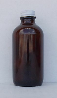15 - 4 oz AMBER Boston Round 120ML neck glass jar with metal cap. Flint (codeNC)