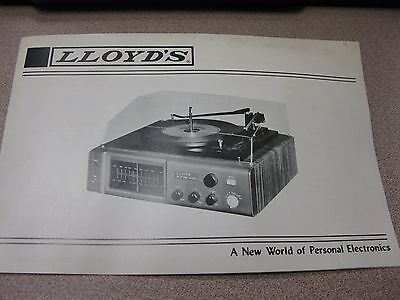 Vintage LLoyds Stereo Owners Manual 1972 AM/FM 4 Speed Turntable FREE SHIPPING