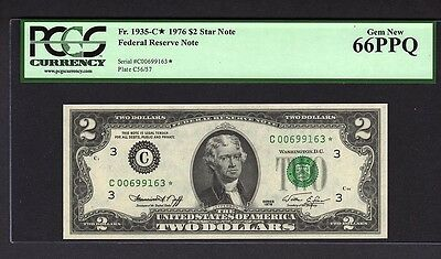 1976-C $2 Star * Federal Reserve Bank Note PCGS 66 EPQ Two Dollar Fr#1935-C*