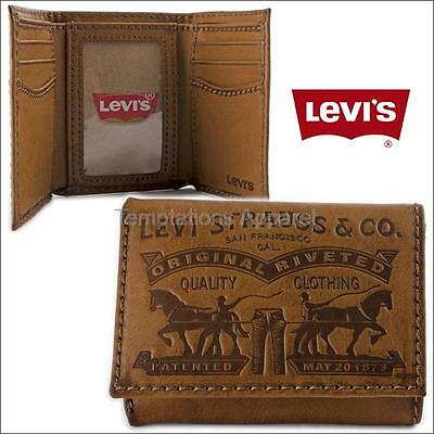 Levi's Men's Leather Photo Id Card Wallet Trifold 31Lv1179 Brown