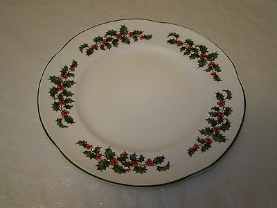 Crown Staffordshire Dessert Plate Holly Christmas