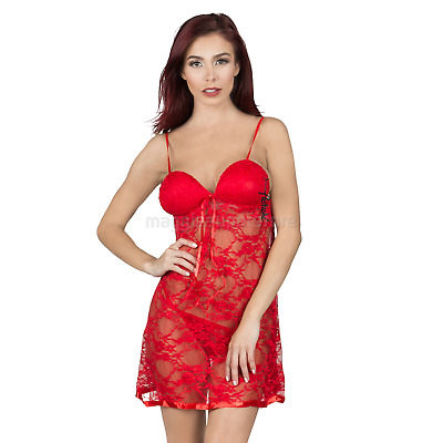 3e31ce4dda84 Red Plue Size Women's Sexy Lingerie Push-Up Babydoll Tulle Sleepwear Lace  Dress