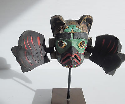 American Indian Hand-paintedTransformation Mask Miniature on Stand Bear to Eagle