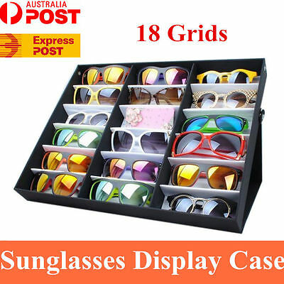 18 Grid Foldable Sunglasses Display Rack Case Eyewear Jewelry Box Holder Tray