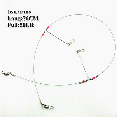 5/10 Pcs Arms Stainless Steel Fishing Wire Leader Arms with Rigs Swivels Snap