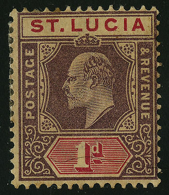 St Lucia   1902-03   Scott # 44  MH  Toned Back and Front