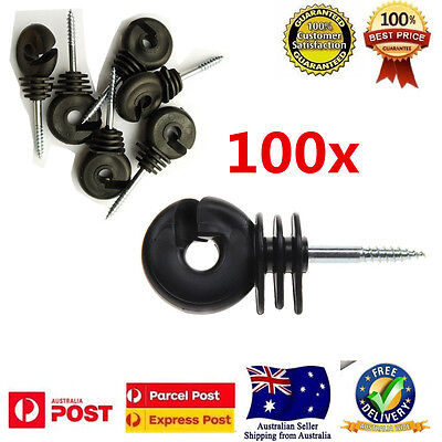 100PCS Electric Fence Timber Wood Post Insulators Screw In Offset Poly Wire Cord