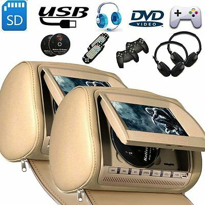 "2X 9""Car Headrest DVD Player Universal Beige Pillow Screen Monitor +2 IR Headset"