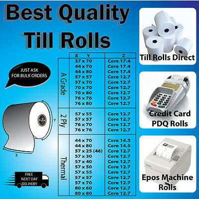 76mm x 70mm - 2 Ply White/WhiteTill Rolls - Fast & Free Delivery!!