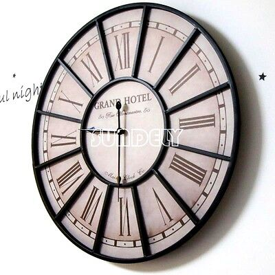 Large 60cm Metal Wall Clock GRAND HOTEL Paris France Vintage Industrial Style