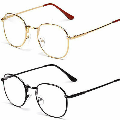 Large Oval Round Clear Lens Fashion Glasses Slim Frame Womens Mens UV400
