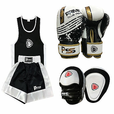 Kid Boxing Set of 3 Boxing Uniform + Boxing Glove 1004 + Focus Pad 1104 (SET-20)