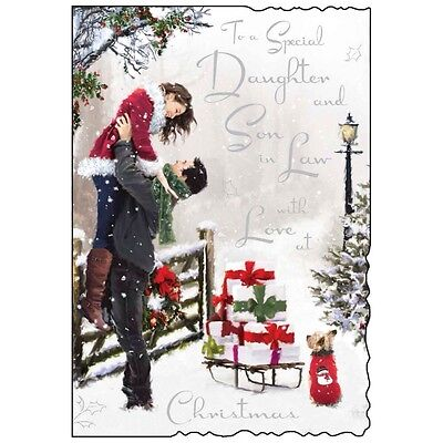 Daughter & Son In Law Christmas Card ~ Lovely Quality ~ Verse ~ Made In UK VT • £3.49 - PicClick UK