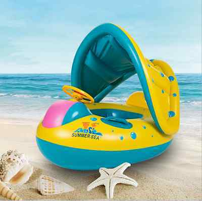 Toddler Baby Inflatable Swim Ring Float Kid Swimming Pool Water Seat With Canopy