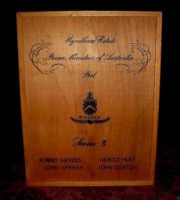 Retro PRIME MINISTERS of AUSTRALIA Wyndham Estate SERIES 5 Wooden Port Box EMPTY