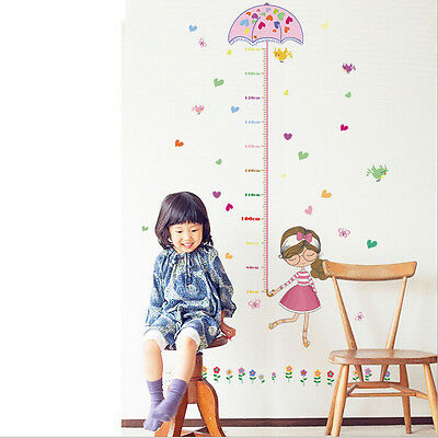 kids home Room Decor Cartoon Girls Umbrella Height Chart Wall Sticker Art Vinyl