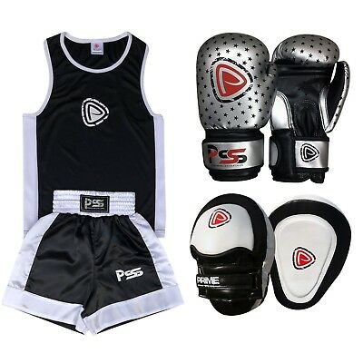 Kids boxing set 3 Pcs Uniform + Boxing Gloves 1010 + Focus pad 1104 (SET-17)