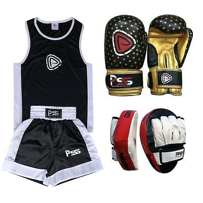 Kids boxing set 3 Pcs Uniform + Boxing Gloves 1010 + Focus pad 1105 (SET-16)