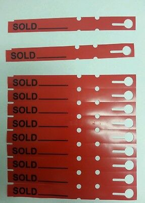 100 RED SOLD TAGS - tree LABELS - wrap around - plastic vinyl loop labels plant