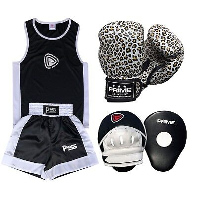 Kids Set 3 Pcs Boxing Uniform + Boxing Gloves 1016 + Focus Pad 1102 (SET-15)