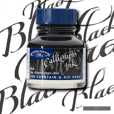 Winsor and Newton Calligraphy Ink - Blue Cap - Black 30ml