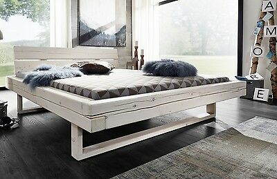 balkenbett bett doppelbett 200x200cm fichte holz massiv wei neu ovp eur 599 00 picclick de. Black Bedroom Furniture Sets. Home Design Ideas