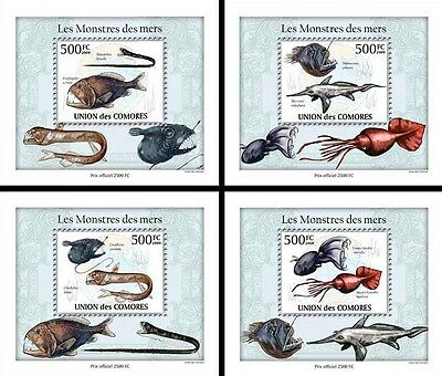 Comoros Comores 2009 MNH Monsters of Sea 4x 1v Deluxe S/S Fish Squid Stamps