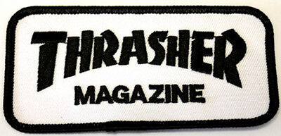 THRASHER Logo Patch White  Aufnäher Skateboard Longboard Oldschool