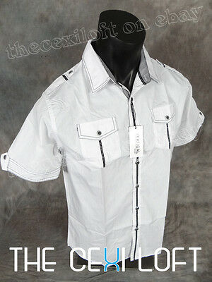NEW Mens VERTICAL Short Sleeve Contemporary Button Shirt White with Black Stitch