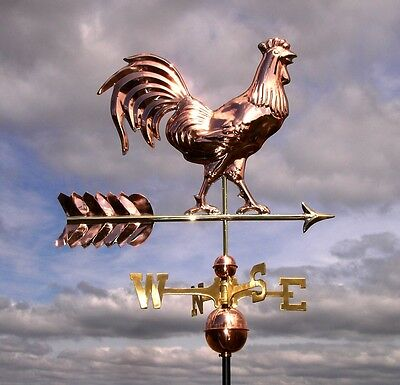 Large Rooster Polished Copper Weathervane