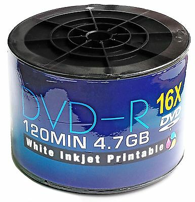 Dvd-R 16X Full-Face Inkjet Printable Discs - 4.7Gb 120Min - 50 Pack