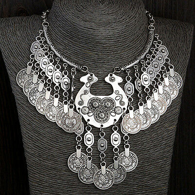Women's Bohemian Vintage Coin Gypsy Chain Bib Choker Statement Necklace Welcome