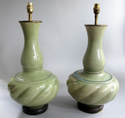 Pair of Large 18th C. CHINESE CELADON Vases as Lamps  c. 1760 (or earlier)