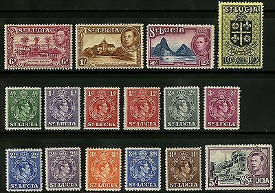 St Lucia   1938-48   Scott # 110-125 MLH Part Set