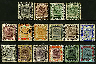 Brunei  1924-37  Scott #  43-58  Used Set