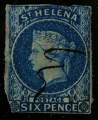 St Helena   1856   Scott # 1   USED - Clipped Corner