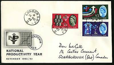 Great Britain 1962  Scott #387p-389p  Combo FDC set